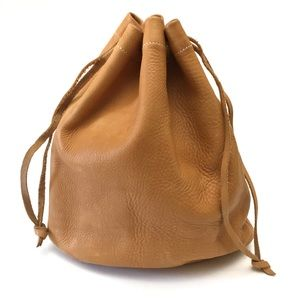 Vintage Leather Drawstring Bucket Bag Pouch Clutch